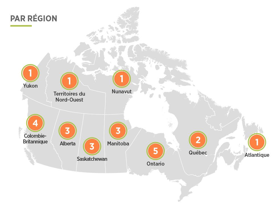 Représentation géographique pour l'Initiative d'innovation pour la construction de logements dans les communautés autochtones