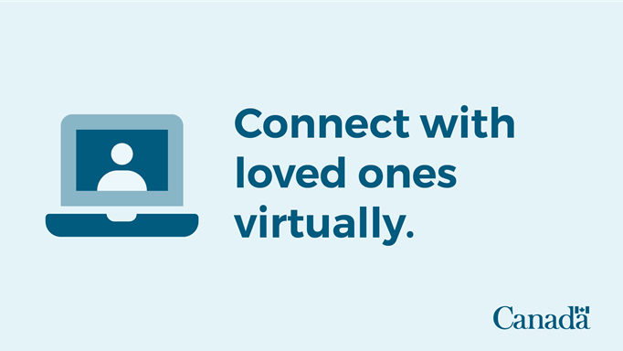 icon of a laptop with text saying to connect with loved ones virtually.