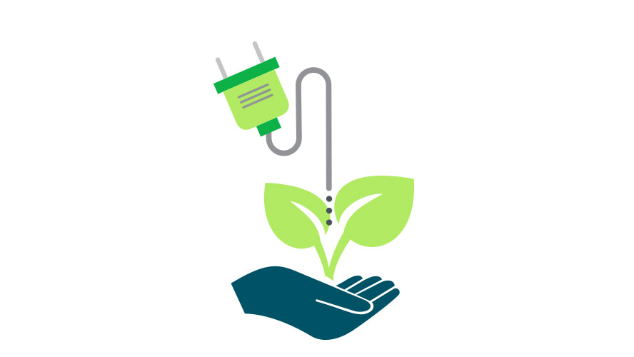 icon of a hand holding a plant connected to a power outlet
