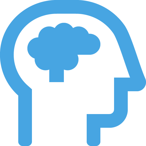icon of the side view of head with a brain