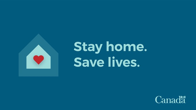 Icon of a heart inside of a house with text saying to stay home and save lives.