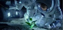 astronauts in space with a plant