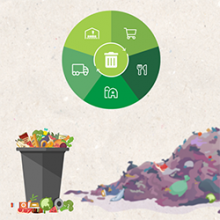trash can overflowing with food with logo of food production life cycle on top